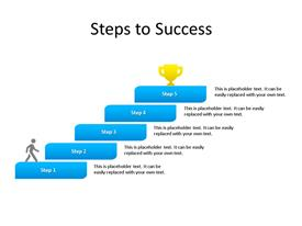 Five steps stairs diagram with success at top